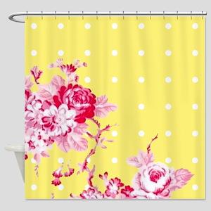 Floral Polka Dot Shower Curtain
