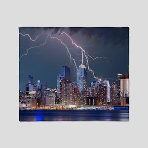 Lightning over New York City Throw Blanket
