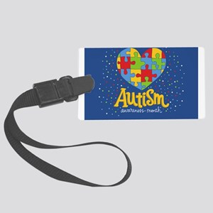 autism awareness month Large Luggage Tag