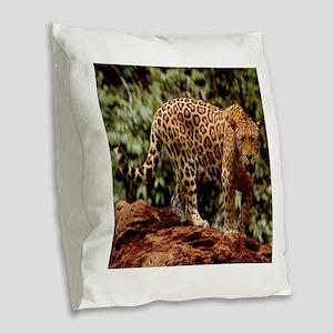 Jaguar Burlap Throw Pillow