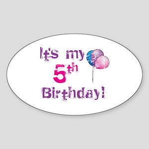 It's My 5th Birthday Oval Sticker