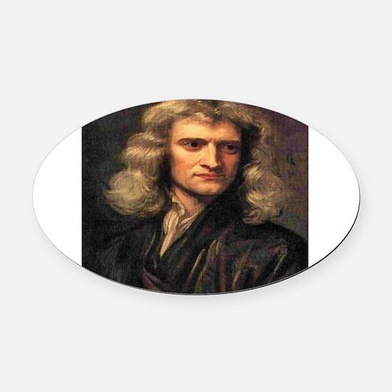 Isaac Newton Oval Car Magnet