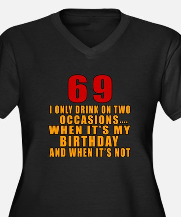 69 Birthday Women's Plus Size V-Neck Dark T-Shirt