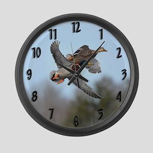Mallards in flight Large Wall Clock