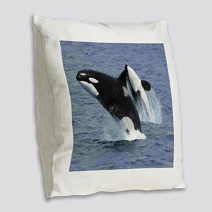 Killer Whales Burlap Throw Pillow