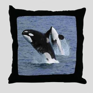 Killer Whales Throw Pillow