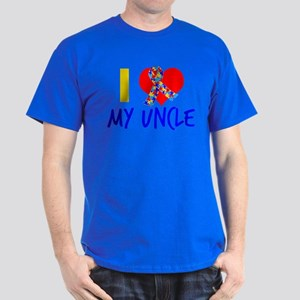 Autism Uncle Ribbon Dark T-Shirt