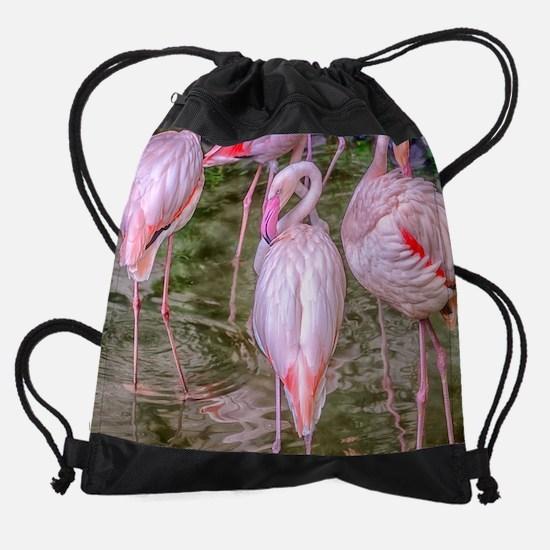 Pink Flamingos Drawstring Bag