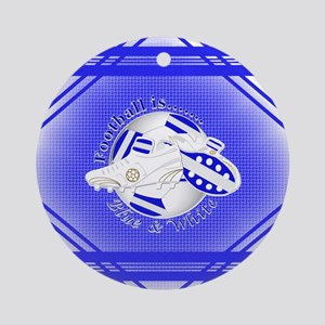 Blue and White Football Soccer Round Ornament
