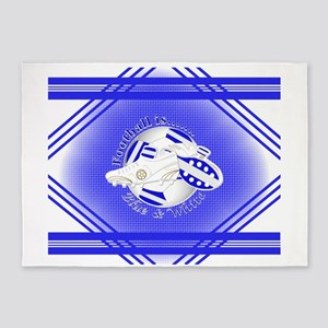 Blue and White Football Soccer 5'x7'Area Rug