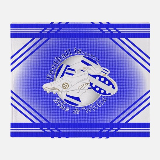 Blue and White Football Soccer Throw Blanket