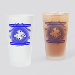 Blue and White Football Soccer Drinking Glass