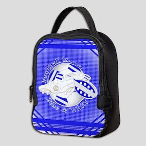 Blue and White Football Soccer Neoprene Lunch Bag