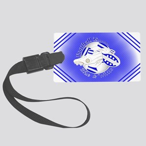Blue and White Football Soccer Luggage Tag
