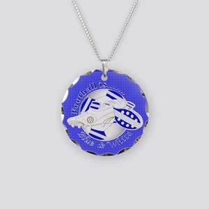 Blue and White Football Soccer Necklace