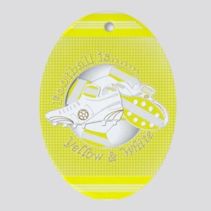 Yellow and White Football Soccer Oval Ornament