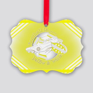 Yellow and White Football Soccer Ornament
