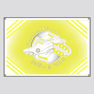 Yellow and White Football Soccer Banner