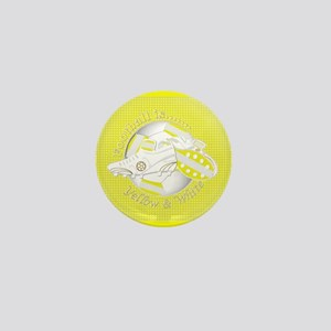 Yellow and White Football Soccer Mini Button