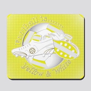 Yellow and White Football Soccer Mousepad