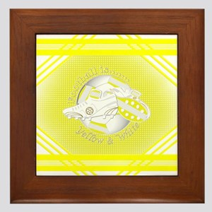 Yellow and White Football Soccer Framed Tile