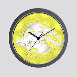 Yellow and White Football Soccer Wall Clock