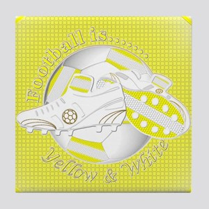 Yellow and White Football Soccer Tile Coaster