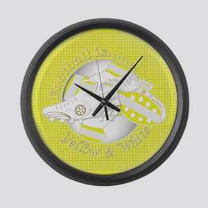 Yellow and White Football Soccer Large Wall Clock