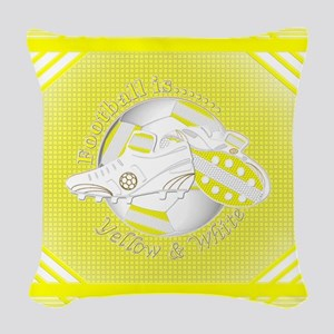 Yellow and White Football Soccer Woven Throw Pillo