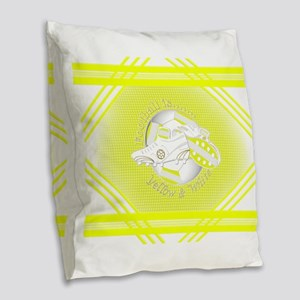 Yellow and White Football Soccer Burlap Throw Pill