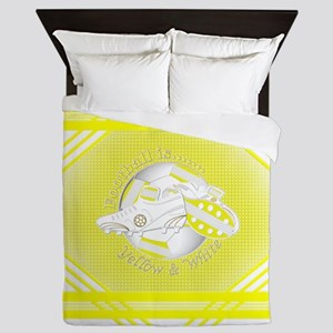 Yellow And White Football Soccer Queen Duvet