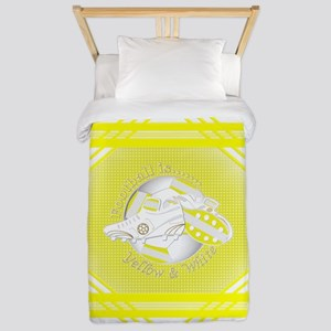Yellow And White Football Soccer Twin Duvet