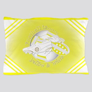 Yellow and White Football Soccer Pillow Case