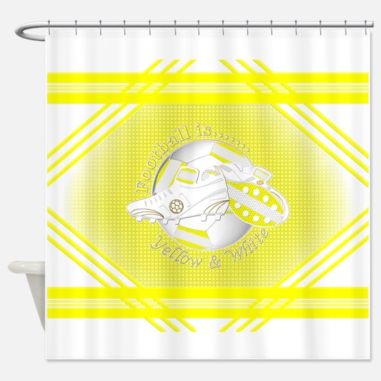 Yellow and White Football Soccer Shower Curtain