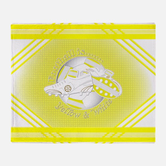Yellow and White Football Soccer Throw Blanket