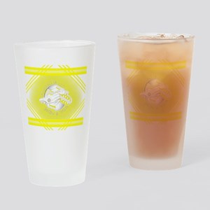 Yellow and White Football Soccer Drinking Glass