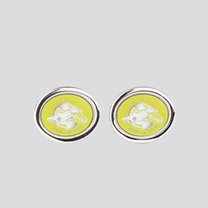 Yellow and White Football Soccer Oval Cufflinks