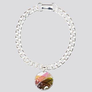 Abstract Floral Swirl Charm Bracelet, One Charm