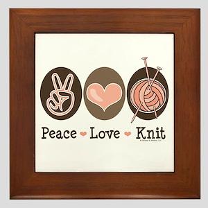 Peace Love Knit Knitting Framed Tile