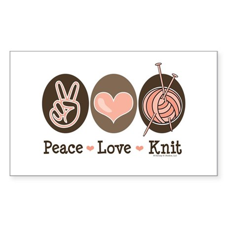 Peace Love Knit Knitting Rectangle Sticker