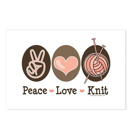 Peace Love Knit Knitting Postcards (Package of 8)