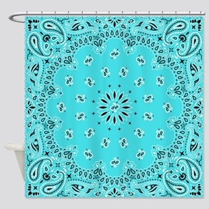 Turquoise Bandana Shower Curtain