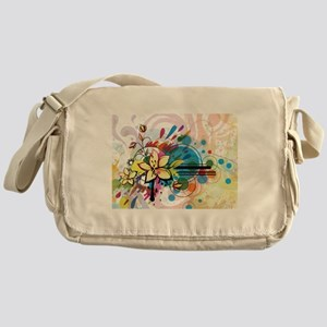 Abstract Funky Floral Messenger Bag