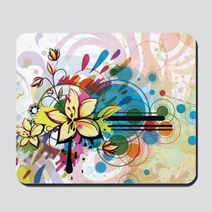 Abstract Funky Floral Mousepad