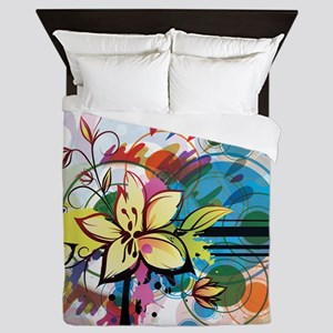 Abstract Funky Floral Queen Duvet