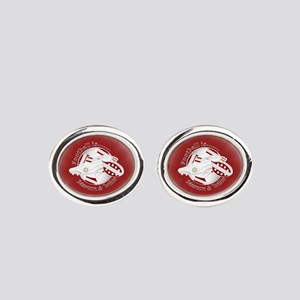 Maroon and White Football Soccer Oval Cufflinks