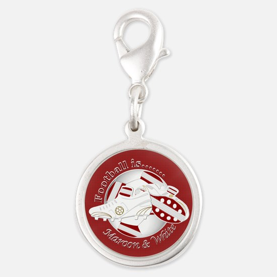 Maroon and White Football Soccer Charms