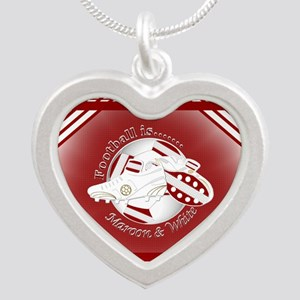 Maroon and White Football Soccer Necklaces