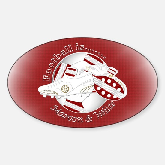 Maroon and White Football Soccer Decal