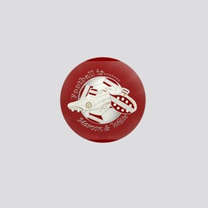 Maroon and White Football Soccer Mini Button